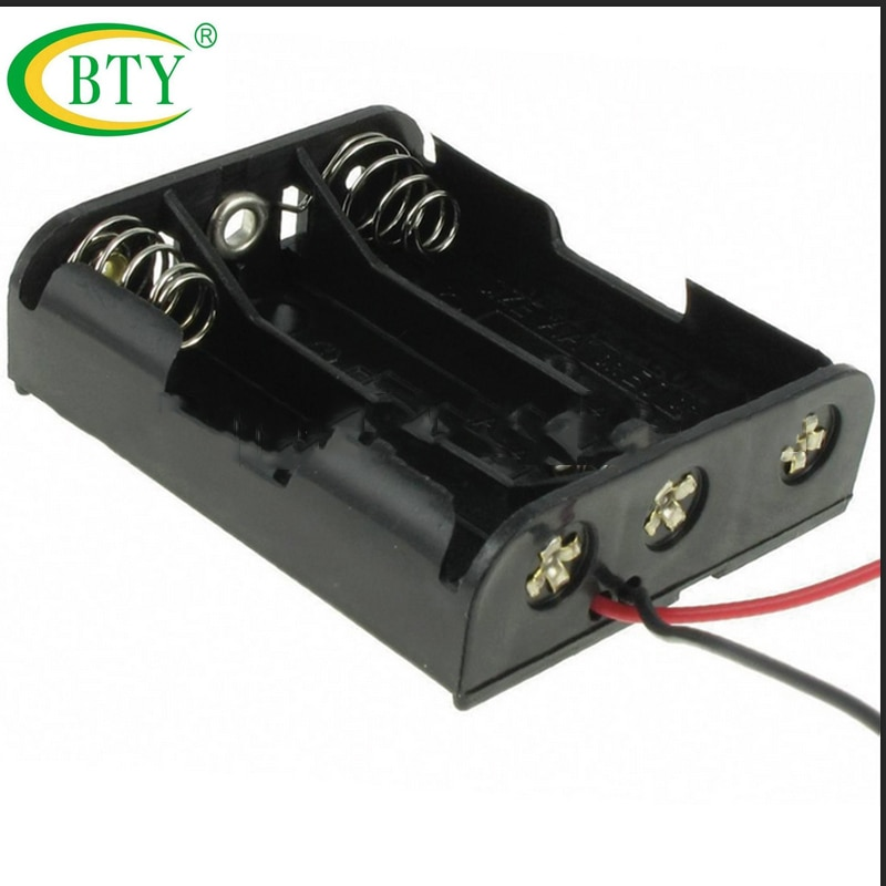 10 pcs de Alta Qualidade Titular Recipiente Da Bateria 3x AA Recarregável Batteria Baterias de Iões de lítio 4.5 V AA Caixa Titular Fio de Chumbo