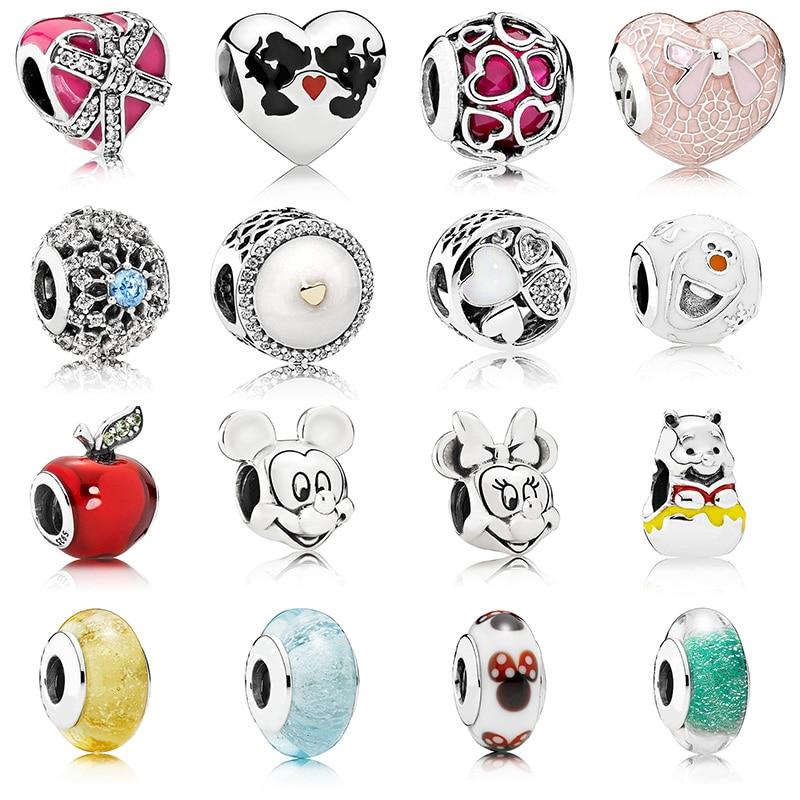 16 стилей Diy бисер серебряного цвета очаровательные модные милые мыши Яблоко Стеклянные хрустальные бусины для женщин оригинальный браслет ...