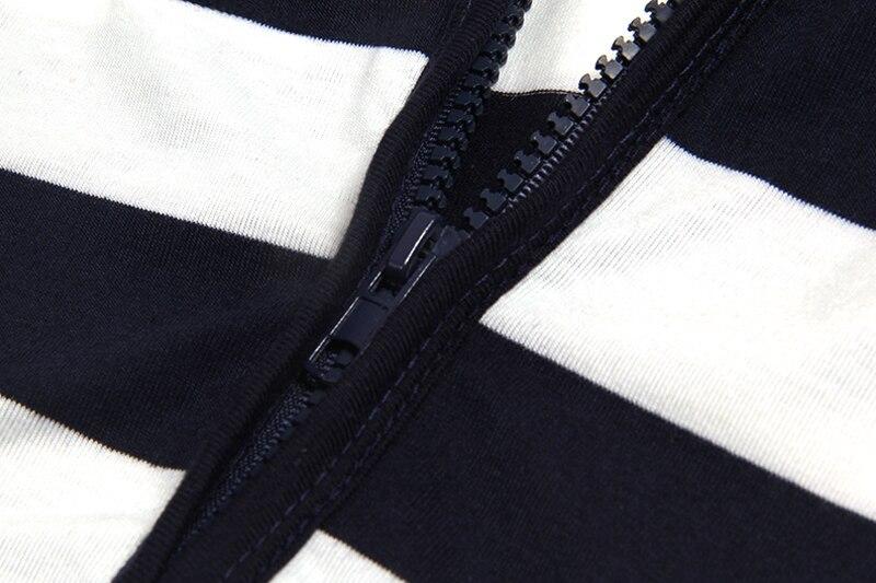 Moda damska Stripes Casual Zipper Bluzy Z Kapturem Kieszeni Kobiety Bluza Plus Rozmiar S-5XL LJ7847R 14