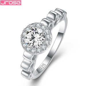 JROSE 2019 Silver Color Rings Elegant Crystal Statement Band Anillos Mujer Love For Women Luxury Engagement Ring Jewelry