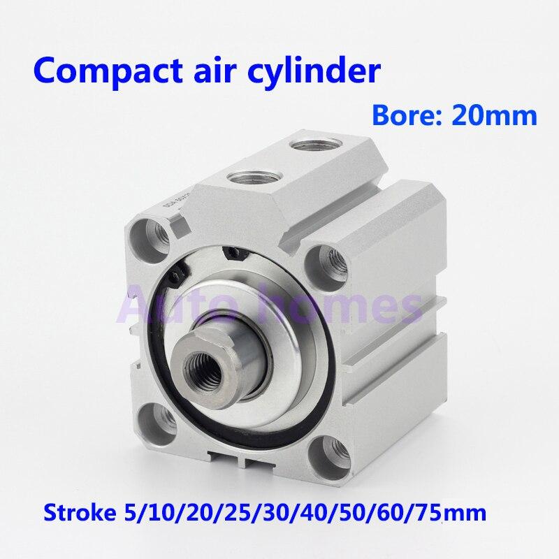 Diámetro de alta calidad 20 cilindro de pistón neumático de aire compacto cilindro delgado de doble acción SDA20-5/10/15/20 /25/30/45/50/75