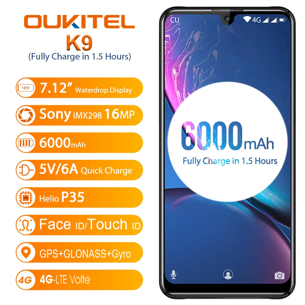 "OUKITEL K9 Waterdrop Mobile Phone 7.12"" FHD Smartphone 5V/6A Quick Charge 1080*2244 16MP 2MP/8MP 4GB 64GB Face ID 6000mAh OTG"