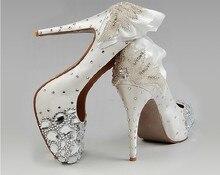 2018 Free Shipping White High Heel Diamond Crystal Princess Shoes Wedding Dress Shoes Rhinestone Bridal Dress Shoes Woman Shoes