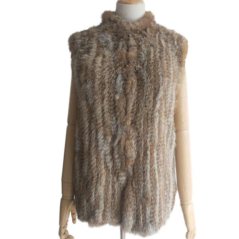 Women Spring Knitted Real Rabbit Fur Vest For 2019 Fashion Women Genuine Real Fur Vests Ladies Sleeveless Genuine Rabbit Gilet