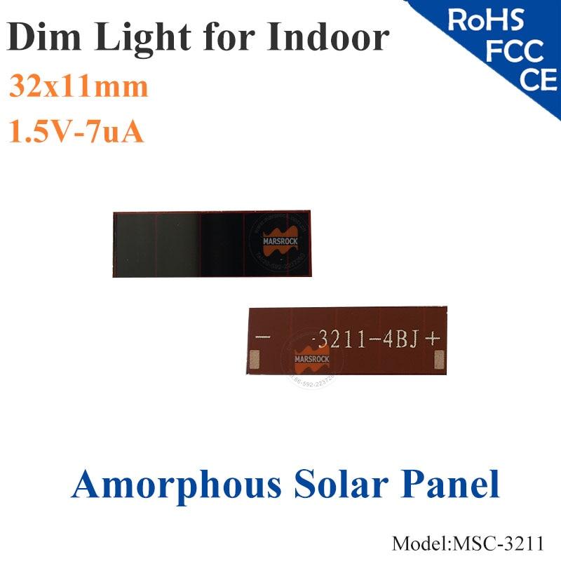32x11mm 1,5 V 7uA dim luz fina película A-silicona pequeña célula Solar ITO vidrio para interior del producto calculadora, juguetes, batería de 0-1,2 V