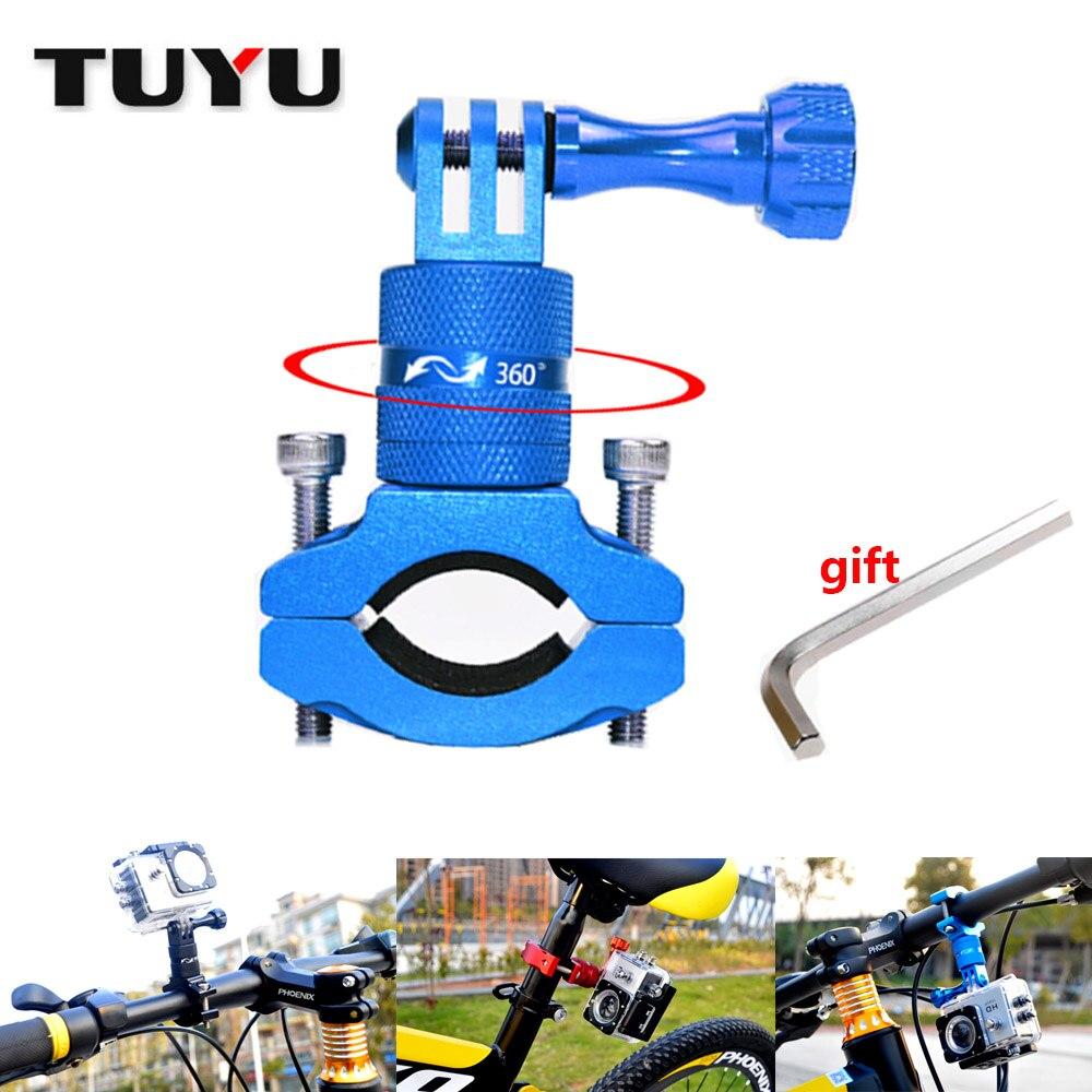 TUYU Алюминиевый Поворотный велосипед монтажный адаптер рукоятки кронштейн GoPro 5/6 360 градусов вращающийся велосипед стойка EKEN SJCAM аксессуары
