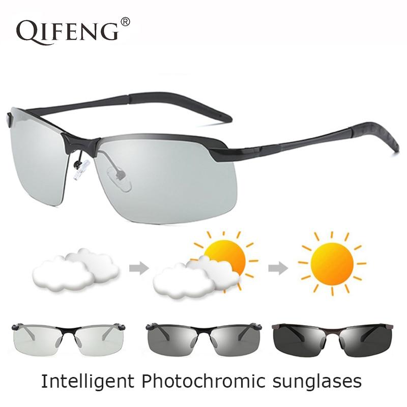 Polarized Photochromic Sunglasses Men Brand Designer Driver Sun Glasses For UV400 Male Driving Fishi