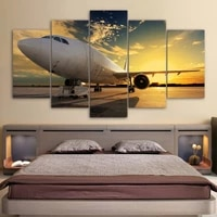 Maison mur decor a la mode avion crepuscule encadre moderne creatif belle 5 pieces toile impressions peinture pour salon