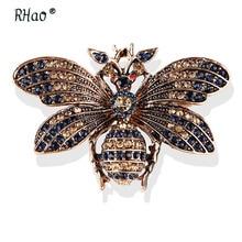 RHao Unisex latające owady broszki czerwone oczy retro kryształki w kolorze złota pszczoła broszka przypinki honeybee stanik 3 kolory ubrania wyciągnąć