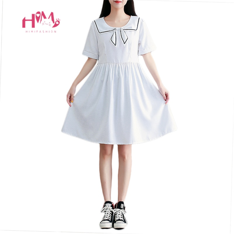 Vestido branco de verão japonês, vestido branco vintage para mulheres e adolescentes, estilo escolar, plus size, preto, casual vestido de vestido