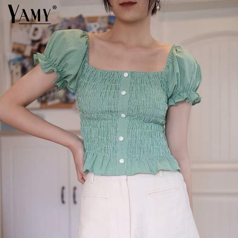 Blusa Vintage para mujer, camisa modis de verano, estilo coreano, blusas con volantes, camisas verdes para mujer, ropa de calle 2019