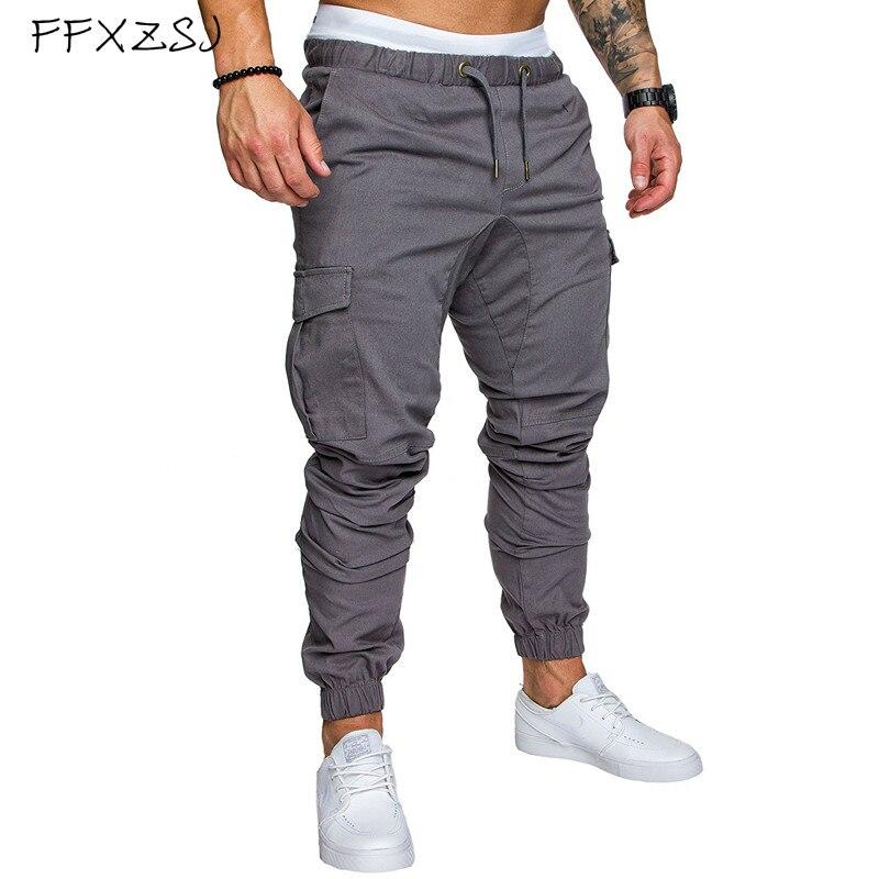 Брендовые мужские брюки FFXZSJ 2019, брендовые Мужские штаны-шаровары в стиле хип-хоп, мужские брюки, мужские штаны для бега, однотонные брюки с н...