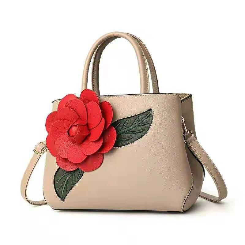 Large Capacity Handbag Floral High Quality Leather Shoulder Crossbody Bags For Women 2019 Khaki Vintage Ladies Hand Bag Tote