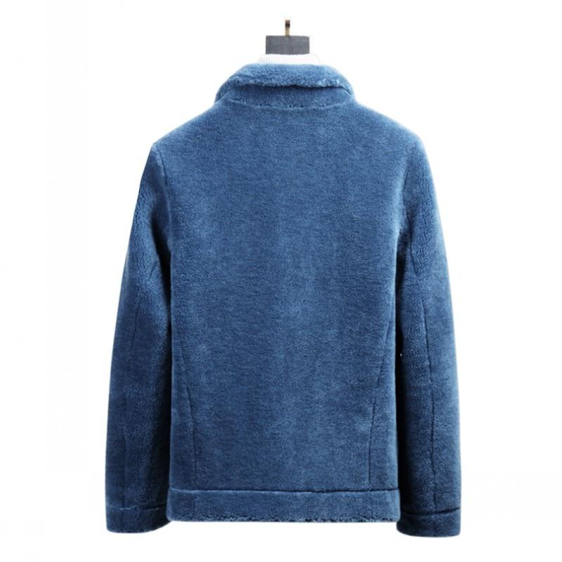 Luxury Mens Sheep Real Fur Coat Suede Leather Lining Jacket Warm Winter Shearling Overcoat Slim Fit Short Male Outwear Fur Coats