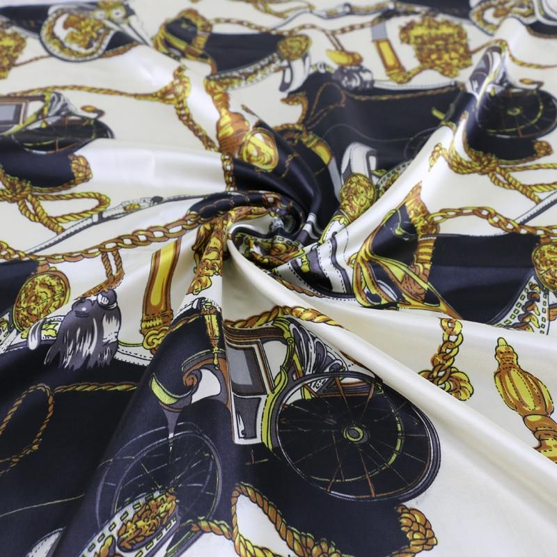 Vestidos de vestido de teste padrão vintage material de cetim macio charmeuse
