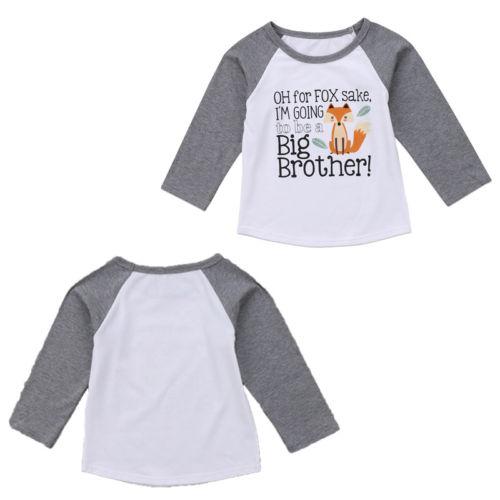 Fahsion hermano Tops bebé Niños Fox manga larga Camiseta de algodón ropa 6 M-4 t