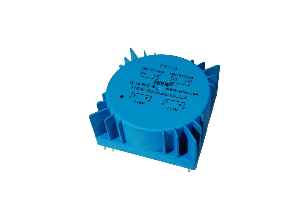 PTC15 para uso de Audio potencia 15VA 2*110V 2*12V transformador toroidal, transformador encapsulado transformador de soldadura de PCB