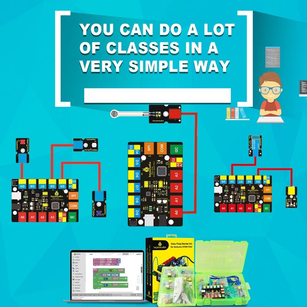 Keyestudio EASY PLUG RJ11 Super Starter  Learning Kit For Arduino STEM EDU/Compatible With Mixly  Block Coding