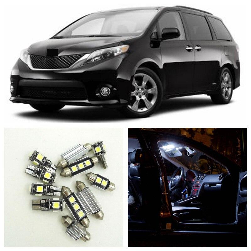Kit de 13 Uds. De luces interiores LED blanco frío para Toyota Sienna 2011-2015, luces para mapas, domo, maletero, puerta, matrícula