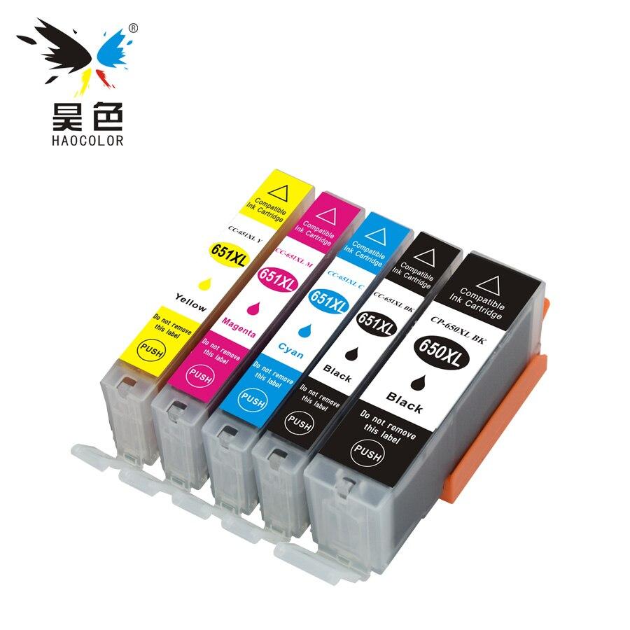 5 unids compatible cartucho de tinta completo PGI-650XLBK PGI650 CLI-651XL para Canon Pixma Ip7260 Ip8760 iX6860 Oceanía impresoras