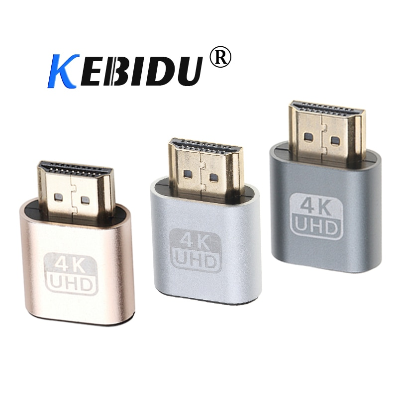 Адаптер Kebidu Mini 4K VGA с Виртуальным дисплеем, HDMI DDC EDID, пустышка, Безголовый эмулятор отображения призрака, пластина замка для майнинга
