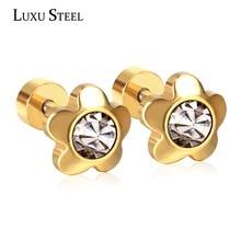 LUXUSTEEL Gold Earrings For Women aretes Stainless Steel Flower Crystal Earrings Women Party Accessories Wedding Daily Wear