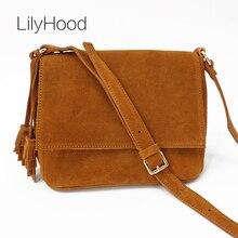 LilyHood 2020 Women Genuine Leather Casual Shoulder Bag Lady Cute Boho Leisure Suede Tassel Fringe Music Festival Crossbody Bags
