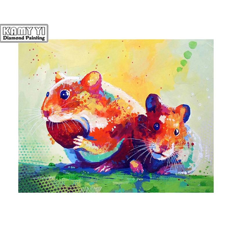 100% la 5D cuadrado bricolaje/diamante redondo dos ratones 3D pintura Diamante de imitación pinturas bordado D1