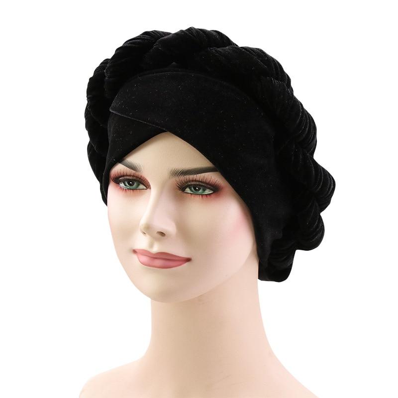 Muslim Women Hemp Flower Braid Cross Velvet Turban Hat Scarf Cancer Chemo Beanie Cap Hijab Headwear Head Wrap Accessories