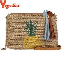 Yogodlns Schulter Taschen Für Frauen 2021 Böhmischen Stil Stricken Stroh Strand Umhängetasche Ananas Handtasche Damen Hand Taschen Bolsa