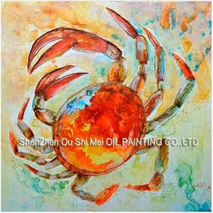 Домашний декор в виде животных водного цвета, настенное искусство, краб ручной работы, картина маслом на холсте, морепродукты, рестораны или...