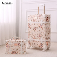 UNIWALKER 2 pièces/ensemble Vintage Floral PU voyage bagages, 13