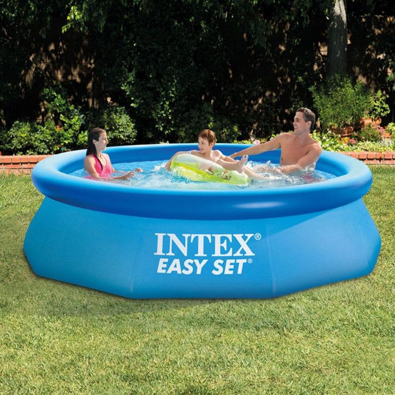 INTEX 28120 engrosamiento grandes niños de la familia piscina adultos bañera inflable 305 × 76 CM piscina inflable piscina con bomba