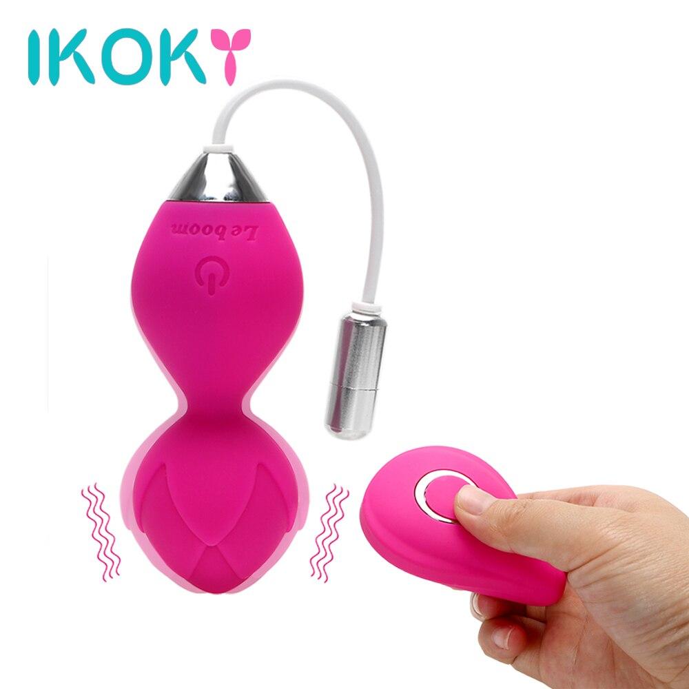 IKOKY Straffen Übung Vaginal Sex Spielzeug für Frauen Vibro-ei G-punkt Massage Vibrator Kegel Ball Drahtlose Fernbedienung