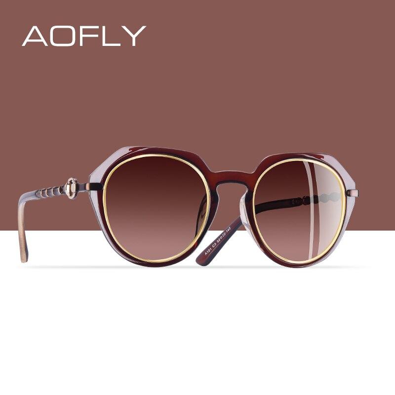 Солнцезащитные очки AOFLY поляризационные женские, круглые классические дизайнерские солнечные очки с солнцезащитные очки с градиентными ли...