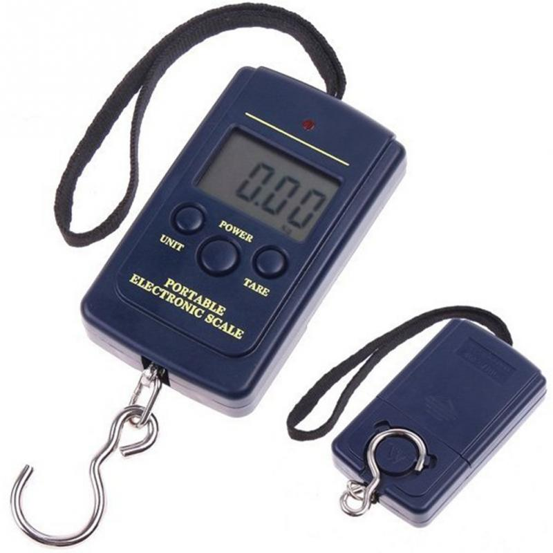 Báscula de pesca Digital portátil Mini 40kg pantalla LCD balanza electrónica gancho de viaje báscula de equipaje