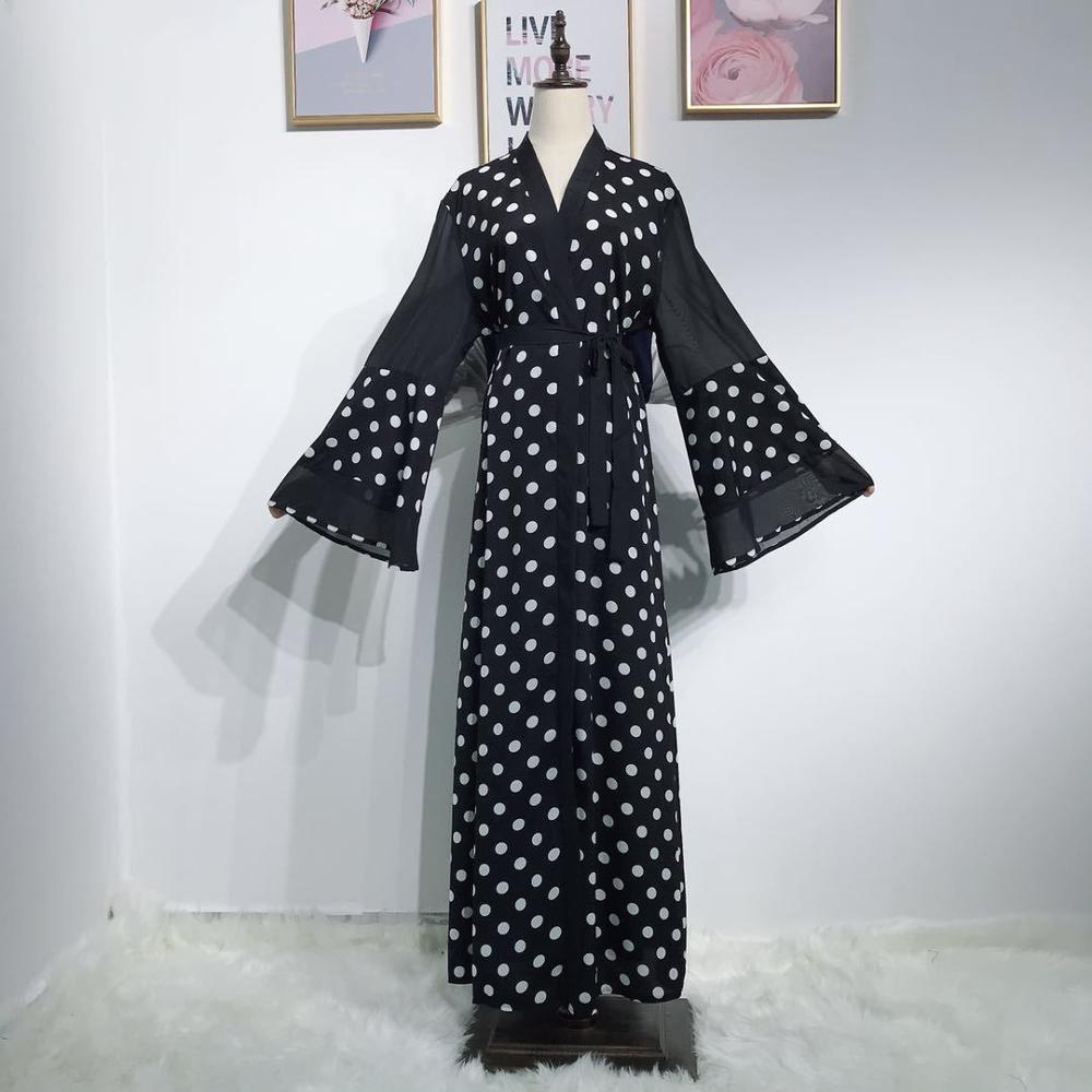 Casual Polka Dot mujer vestido musulmán cárdigan manga larga acampanada Patchwork vestido islámico Ramadan Caftan marocaín