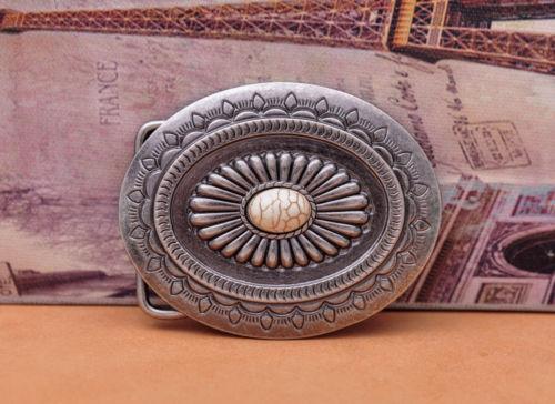 Gran Vintage Tribal Floral grabado turquesa grano cuero artesanal hecho a mano cinturón hebilla reemplazo