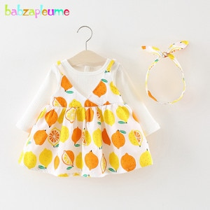 2Piece/Spring Wear Korean Baby Dress Long Sleeve Cute Infant Dresses+Headband Birthday Clothes For Girls Clothing Sets BC1779-1