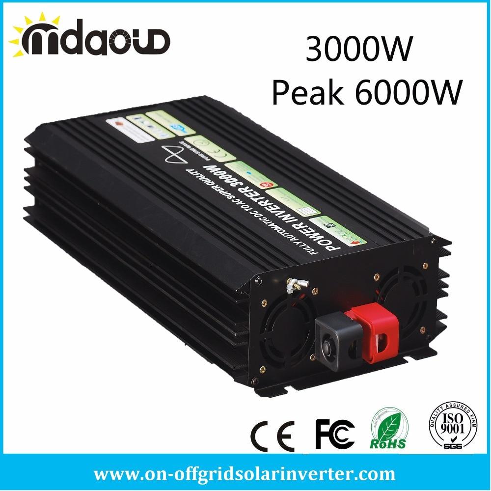 3000W/6000W PEAKING SOLAR Power Inverter CONVERTER DC12/24V/48V TO AC110/120/220/230/240V Pure Sine Wave OUTPUT