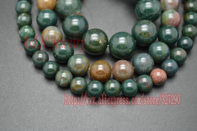 Yüksek Kaliteli Yeşil ve Kırmızı Renk 6 ~ 10mm Bloodstone 16 Yuvarlak Boncuk Takı Yapımı Için Malzemeler 5 adet/grup