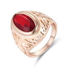 FJ, Anillos de circón cúbico de piedra roja grande para mujer para hombre, Color oro rosa 585, anillo de boda a la moda, joyería para fiesta