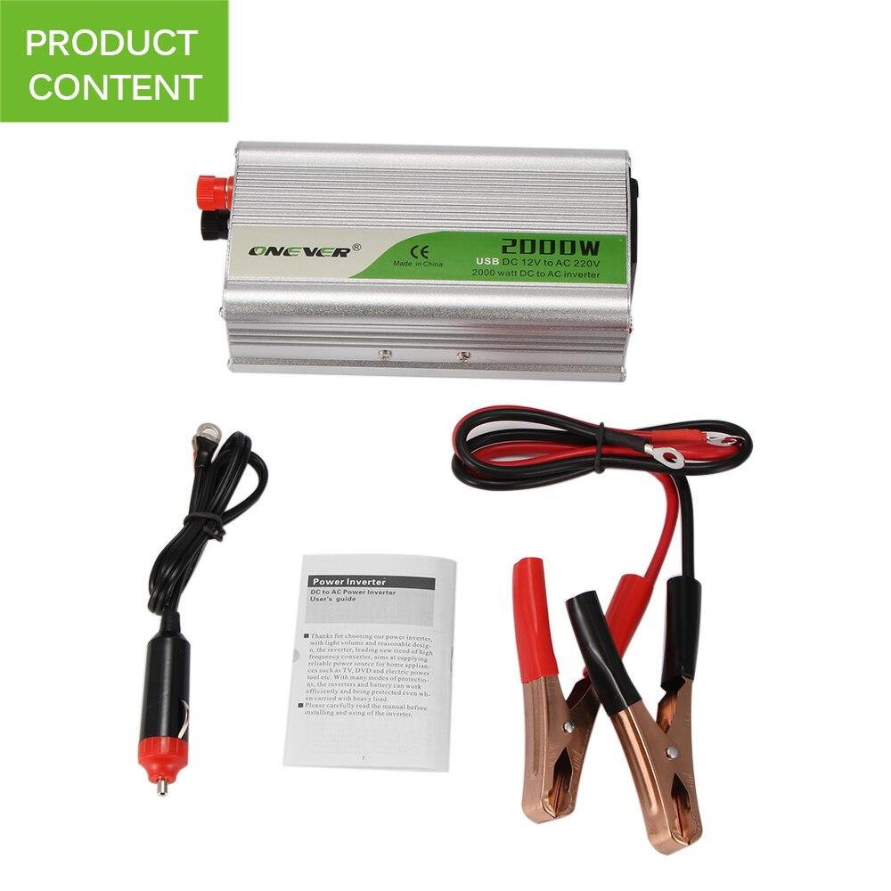 Convertidor inversor de corriente de coche de 2000 W DC 12 V a CA 220 V potencia de onda sinusoidal modificada con tomas de corriente alterna 2.1A cargador USB