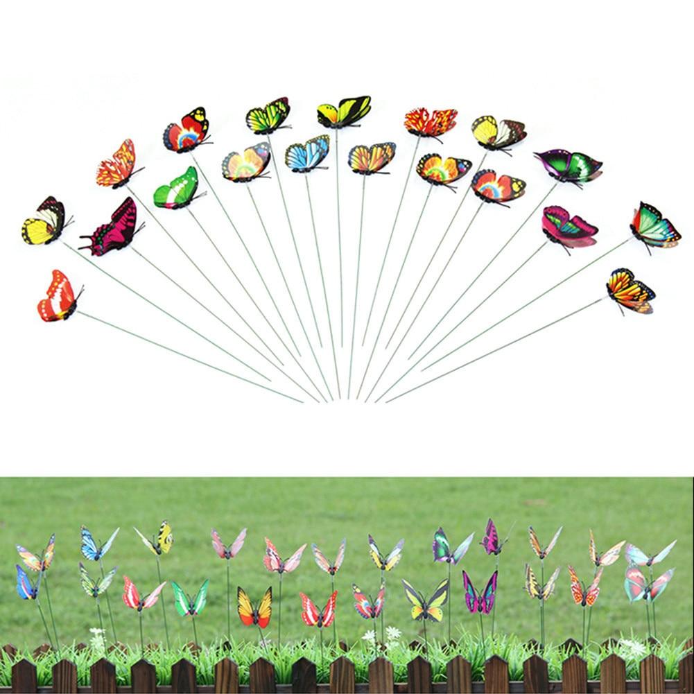 10 pçs colorido borboleta em varas jardim vaso casa jardim quintal gramado diy artesanato arte decoração