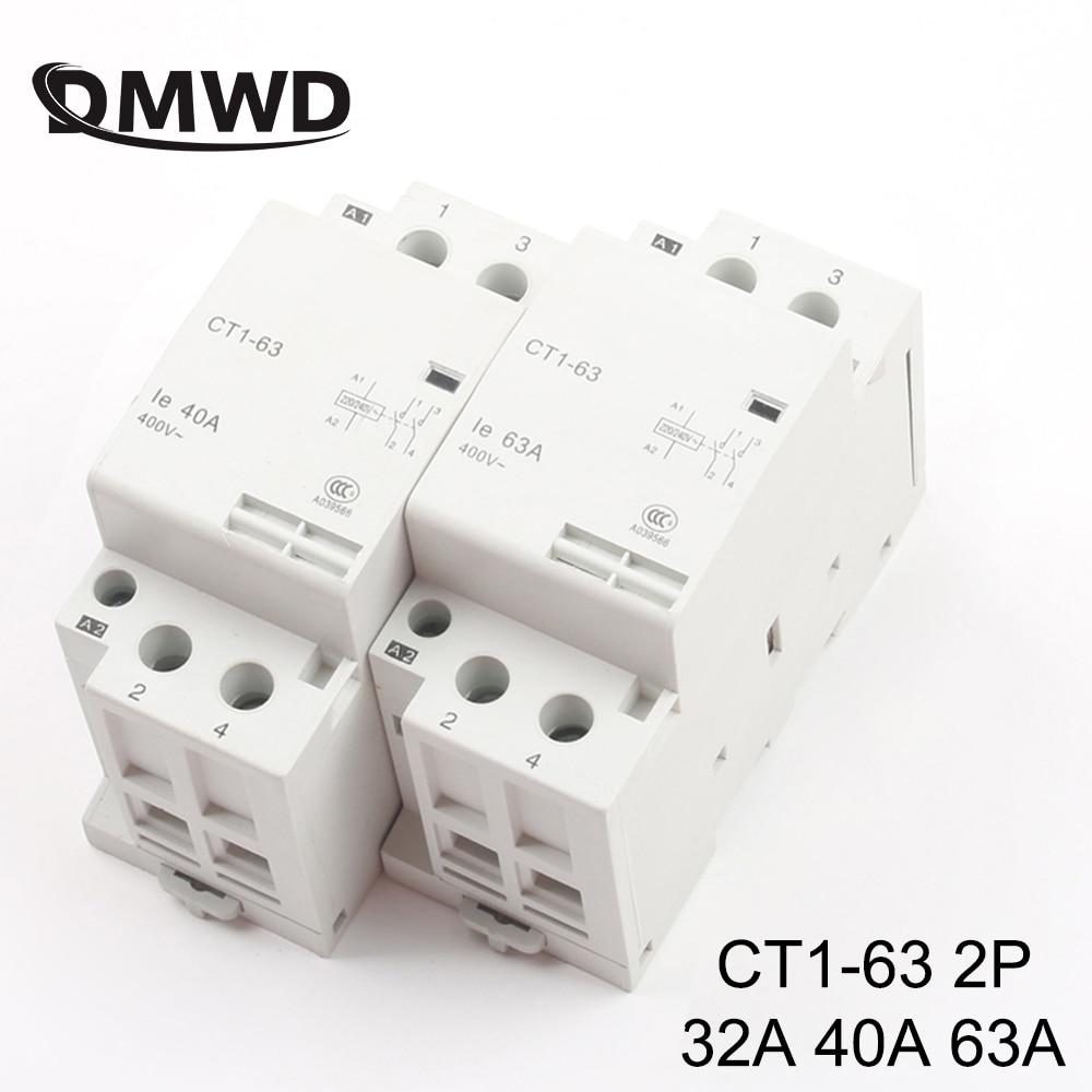 CT1-63 2P 32A 40A 63A 220V/230V 50/60HZ, carril Din hogar ac contactor...