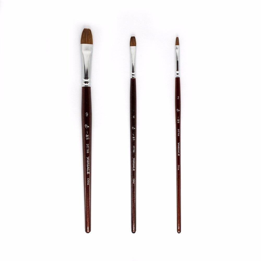 Juego de 3 uds de pinceles de pintura de lobo para dibujo acrílico, pincel profesional de acuarela Filbert, Material de arte
