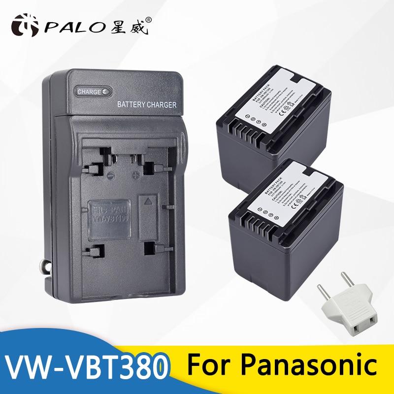 2pc 3900mAh VW-VBT380 VBT380 recargables batería + cargador para Panasonic HC-V110 HC-V130 HC-V160 HC-V180 HC-V201 HC-V250 HC-V260