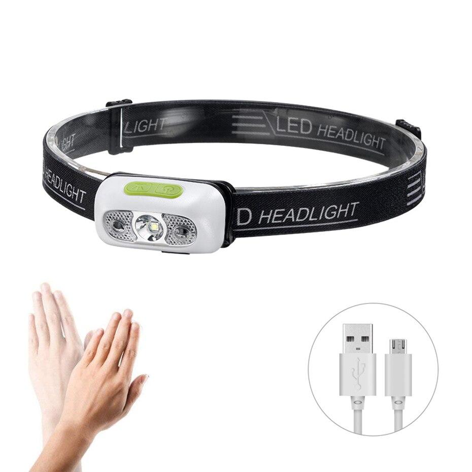 Mini recargable LED Sensor de movimiento faro impermeable faro linterna para cabeza Lanterna para acampar al aire libre la noche de pescado