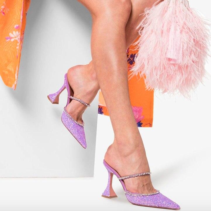 2019 verão sexy prata lavanda glitter slides apontou toe miçangas cinta lantejoulas de salto alto vestido chinelos sapatos femininos