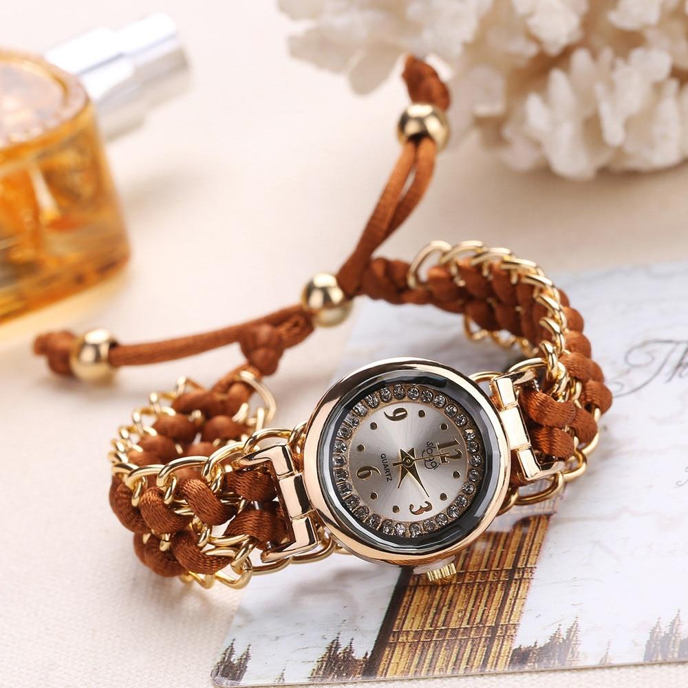Women Watches Fashion Lady Knitting Rope Chain Winding Rhinestone Dial Bracelet Quartz Wrist Watch r